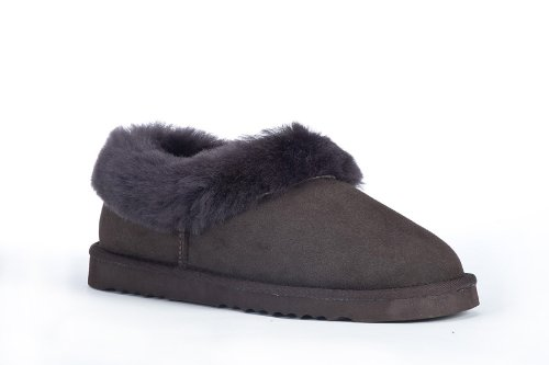 Cheap Sheep Touch Women's BALM Twin-Faced Australian Sheepskin Slippers Closed-Back Chocolate (B005PRA0QW)