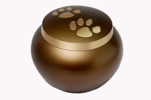 Pet Cremation Memorial Urn Paw Prints Solid Brass Brown