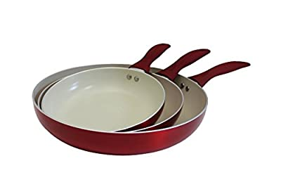 Concord 3pc Ceramic Non Stick Fry Pan Set Eco Friendly Frying Induction Cookware (Red)
