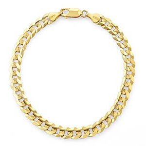 Yellow Gold Curb Men's Bracelet