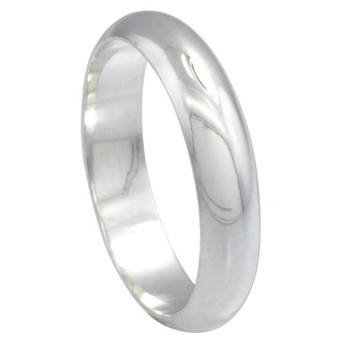 Revoni Sterling Silver 5 mm High Dome Wedding Band Thumb Ring, size H