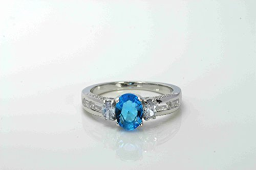 Ucela Fashion Platinum Plated 925 Sterling Silver Ring 3 Carat Women'S Ring Size 7 Engagement Ring Free Package 2014 Blue Topaz Gems