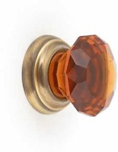 Amber Glass and Antique Brass Cabinet Door Knob - by New A-Brend