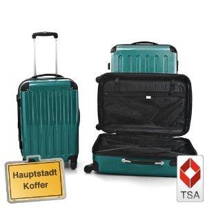 3er Kofferset Hartschale Trolley waldgrün-Hochglanz