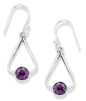 French Wire Earrings with Tri Shape and Round Amethyst Drop