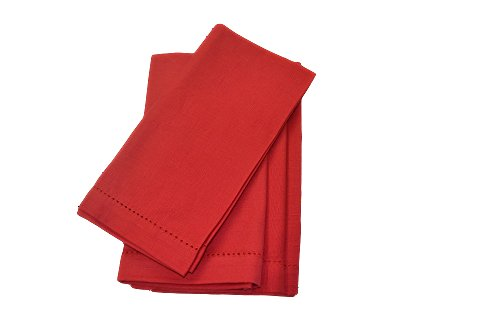Hemstitch Dinner Napkins Red 1 Dozen (Linen Napkins Red compare prices)