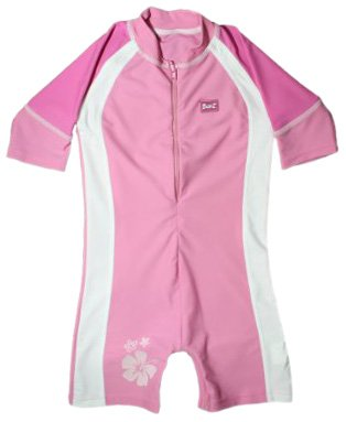 Baby Banz One Piece Sun Protection Swimsuit, Pink/White, Size 1