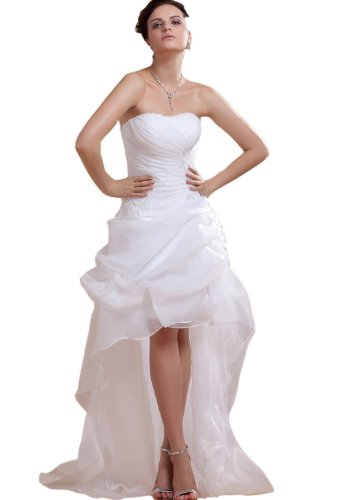 Albizia Beaded Strapless Short and long Bridal Gown Wedding Dresses(22,Ivory)