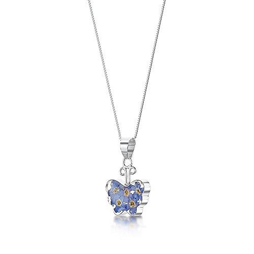"""Ciondolo in argento, con vero non ti scordar di me, motivo """"Farfalla"""", con catena in argento da 46 cm, confezione regalo"""