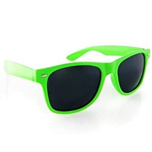 Vintage Wayfarer Style Sunglasses - 15 Colors Dark Lenses Neon Green