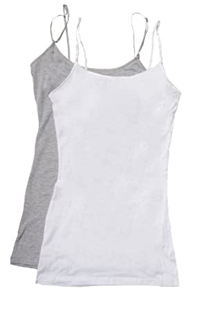 2 Pack Zenana Women's Basics Tank Tops Small Heather Gray & White