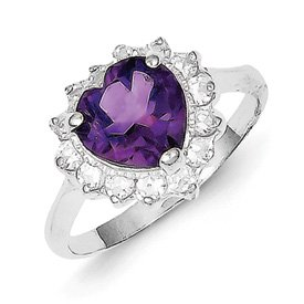 Genuine IceCarats Designer Jewelry Gift Sterling Silver Amethyst And Cz Heart Ring Size 6.00
