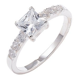 Sterling Silver Cubic Zirconia Ring - Size K