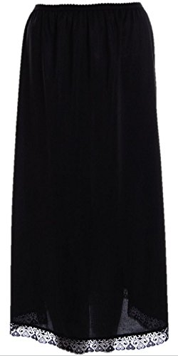 Premium Anti Static Long Length 32 inch Maxi Half Slip Underskirt Black WX 12-14