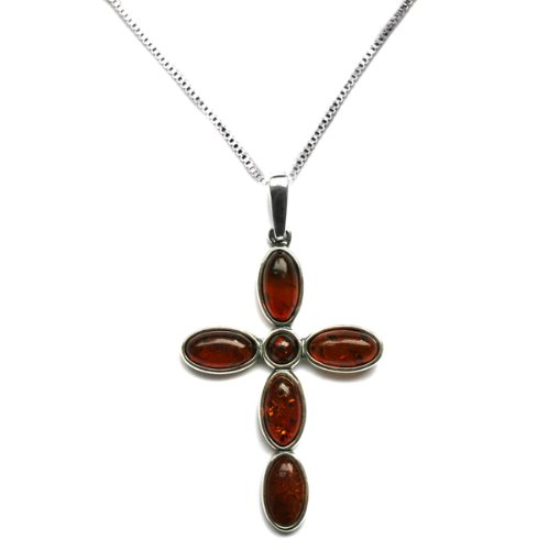 Cherry Amber and Sterling Silver Circular Cross Pendant, 18