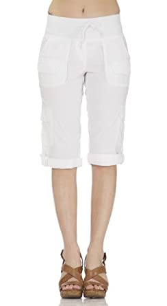 Classic Designs Stretch Poplin Cargo Relaxed Look Capris (1X, White)