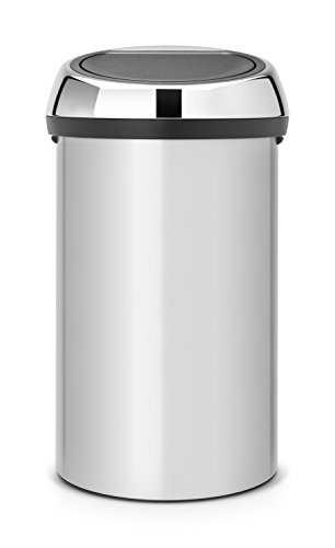 Brabantia Touch Bin Pattumiera in Acciaio, Coperchio Inox Lucido, 60 l, Metallic Grey