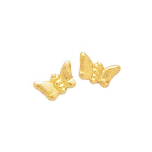 14K Yellow Gold Butterfly Baby Earrings