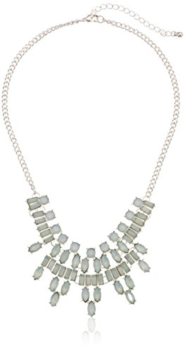 Frosted Stone Statement Ice Blue Necklace, 16""