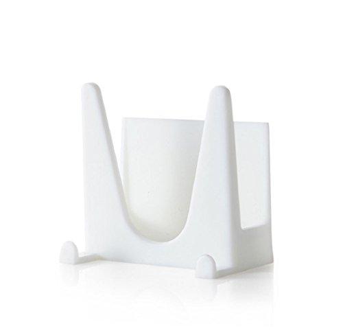 Ularma Cuisine en plastique Pot Pan couverture Shell couverture Sucker outil support stockage Rack (blanc)