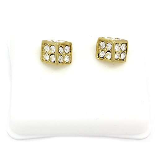 Mens 14K Gold Plated Cz Micro Pave Iced Out Hip Hop Dice Stud Earrings Bullet Backs
