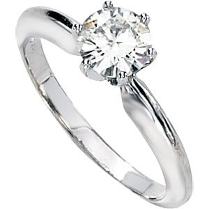 Gorgeous! Women's 14k White-gold 6MM=3/4 CT Round Moissanite Solitaire Engagement Ring