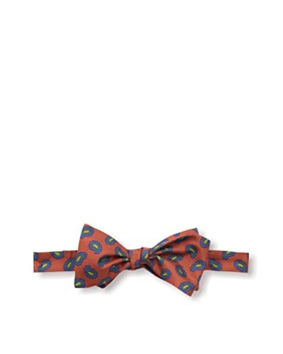 J.McLaughlin Men's Paisley Silk Twill Bow Tie, Orange/Blue