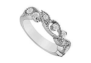 Diamond Ring : 14K White Gold - 0.15 CT Diamonds Size 11
