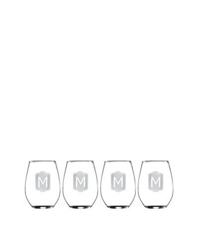 Jay Imports Set of 4 Monogram M Stemless Wine Glasses
