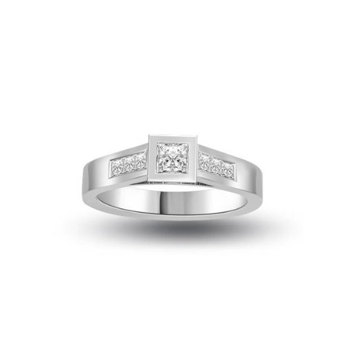 0.60 carat Diamond Engagement Ring for Women. H/SI1 Solitaire Princess Cut with Shoulder set Diamonds 18ct White Gold