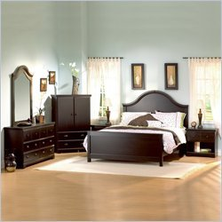South Shore Mountain Lodge Queen Wood Panel Bed 5 Piece Bedroom Set in Ebony