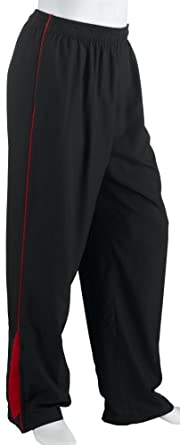 Champion Men's Woven Dobby Pant, Black/New Scarlet, Large
