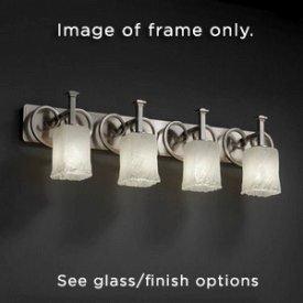 Justice Design CLD-8584-18-NCKL Heritage Four Light Bath Bar, Choose Finish: Black Nickel Finish, Choose Lamping Option: Standard Lamping