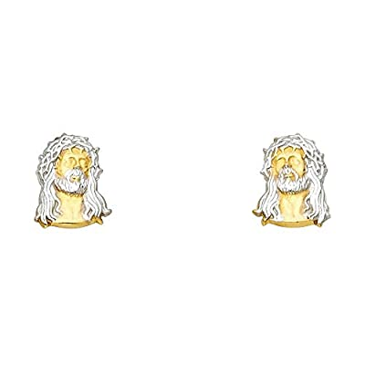 Wellingsale® Ladies 14k Two Tone Gold Polished Jesus Christ Earrings