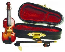 Dollhouse Miniature Violin with Bow & Case