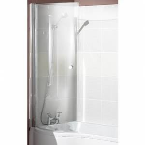 P Curved Pivot Glass Shower Bath Screen - Single