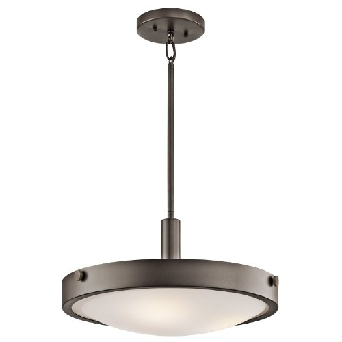 Kichler Lighting 42245OZ Lytham 3-Light Convertible Fixture, Olde Bronzes Finish with Satin Etched White Glass