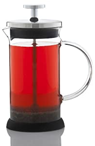 GROSCHE LISBON French press coffee and tea press, 350 ml 11.8 oz fl. oz capacity, Glass body with SS filter press, removable silicone grip base, and included spoon