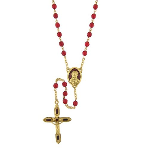 The Vatican Library Collection Siam Red and Gold-Tone Crucifix Rosary