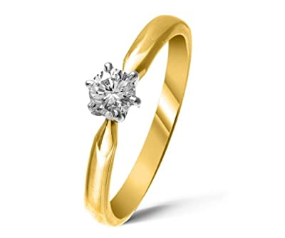 Certified Stylish 9 ct Gold Ladies Solitaire Engagement Diamond Ring Brilliant Cut 0.25 Carat JK-I3