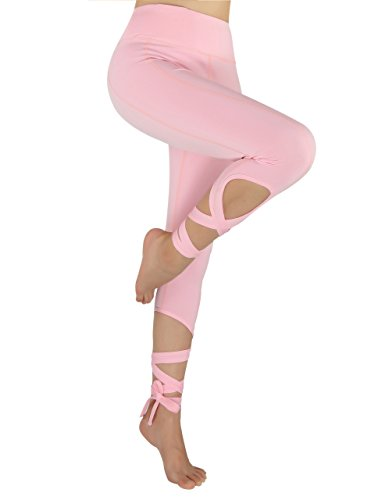Women Self-tie Turnout Leggings Yoga Sport Soft Pants Pink Large