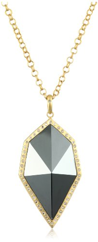 Lauren Harper Collection Midnight 18k Gold, Hematite and Diamond Pyramid Pendant Necklace