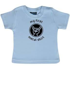 """my first metal shirt"": Baby T-Shirt, hellblau, Größe 62"