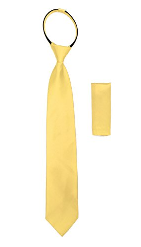 Standard Satine Yellow Zip Up Tie with Hankie Set Mens Zipper Tie