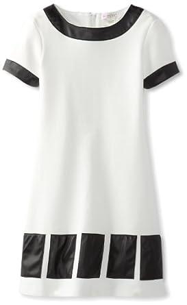 kc parker Big Girls' Big Girl Short Sleeve Knit Ponte Dress, Marshmallow, 8
