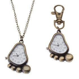 porch-o-unisex-sole-style-alloy-analog-quartz-keychain-necklace-watch-bronze