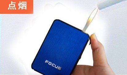 ULTRA THIN 6 pack FOCUS Automatic Loading Cigarette Case Dispenser With Built in Torch Lighter (BLUE COLOR)- FOR KING SIZE CIGARETTES (GD-1074 , FREE CAR sticky pad for Phone PDA MP3 MP4) (Blue Cigs Electronic Cigarette compare prices)