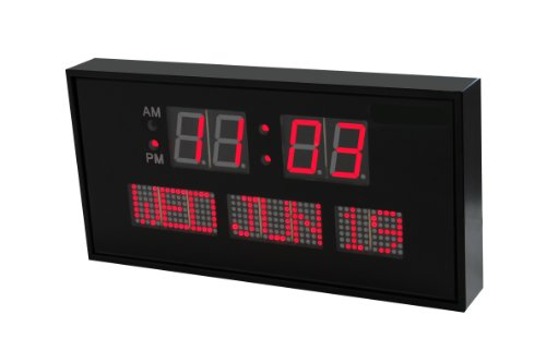 Large Digital Red LED Calendar Clock 11 x 3/4
