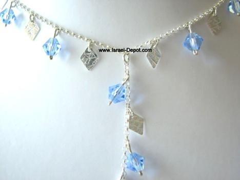 Swarovski Blue Sapphire Crystals Silver Rhombus Chips Necklace