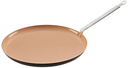 Matfer Bourgeat 666228 Elite Ceramic Crepe Pan, 11-Inch, Brown/Beige